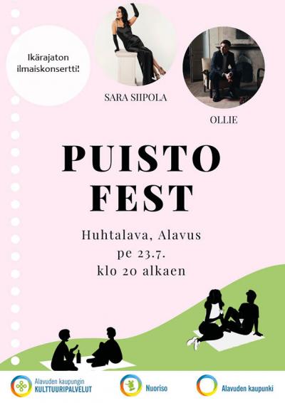 Ikärajaton ilmaiskonsertti Puisto Fest Alavuden Huhtalavalla perjantaina 23.7.2021 klo 20 alkaen.