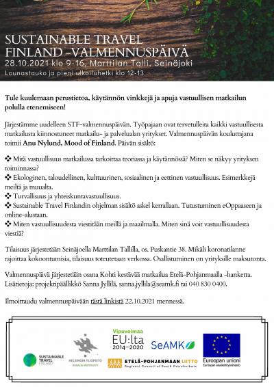 Sustainable Travel Finland -valmennuspäivä to 28.10. klo 9-16 (Seinäjoki, Marttilan Talli)